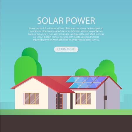 Solar energy concept. Ecology house.