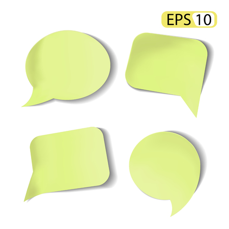 Set of green Stick Speech Bubbles Isolated.