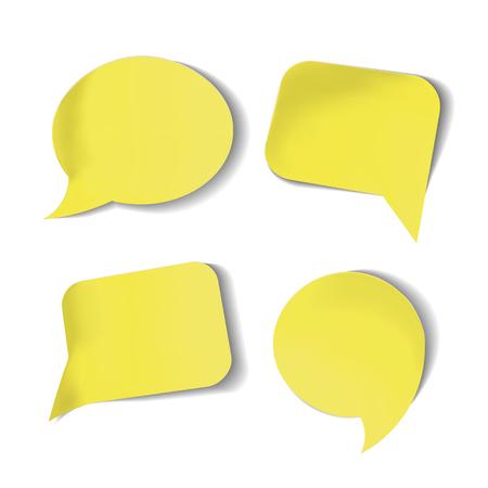 Ensemble de bulles de discours jaunes de Stick isolées. Banque d'images - 80490116