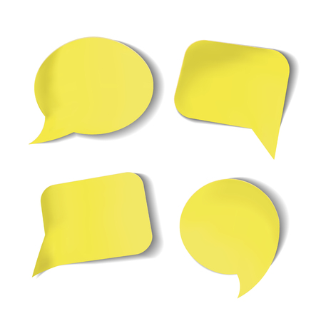 Set of yellow Stick Speech Bubbles Isolated.