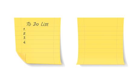 Yellow stick notes isolated on white background. To do list. Ilustração