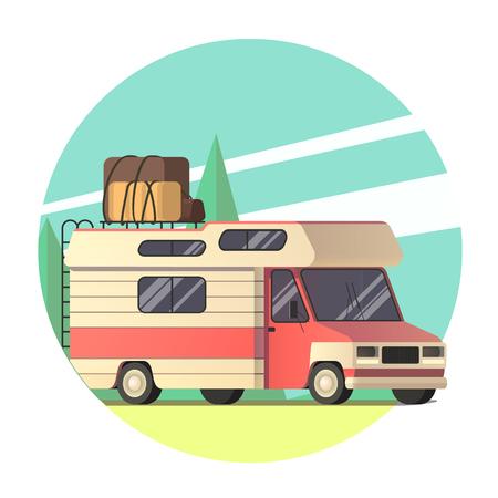 vector van travelling to the road trip in flat design Ilustração