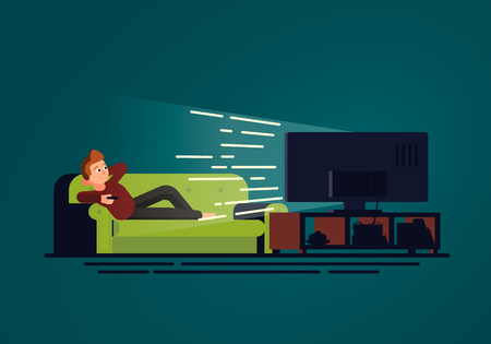 An illustration in flat design of a man lying on the couch who watches TV. Sofa and television set in dark room on the blue background. Vector concept Stock Illustratie