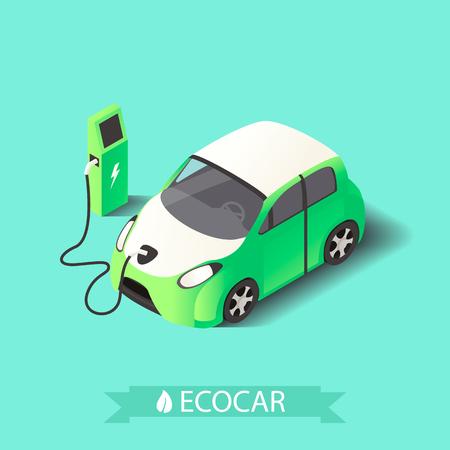 Vecotr 3d isometric electric car Ilustração