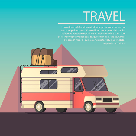 Vector flat illustration on the theme travel, road trip.
