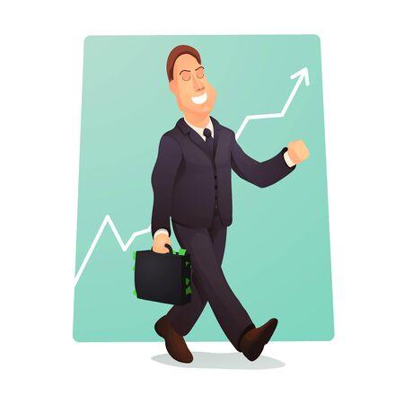 Un homme d'affaires prospère avec une valise pleine d'argent. Concept de vecteur d'homme d'affaires. Banque d'images - 80905717