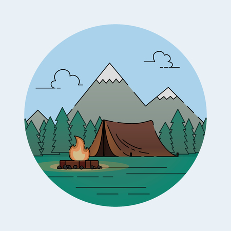 Tent camp in nature in the forest. Camping with forest. Vector flat design icon. Illustration