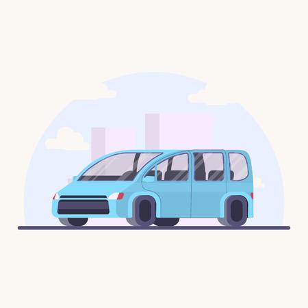 Vector illustration family car. Minivan in flat style. Blue auto for family.