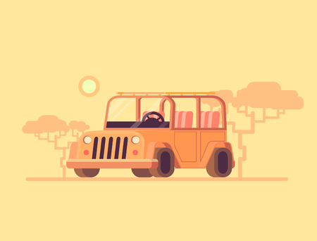Safari jeep. Vector flat illustration off road car. Safari tourism in a car. Concept
