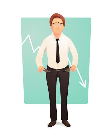 crisis economica: Empresario mostrando sus bolsillos de pantalones vacíos. Quiebra girando los bolsillos vacíos de adentro hacia afuera. Ilustración vectorial