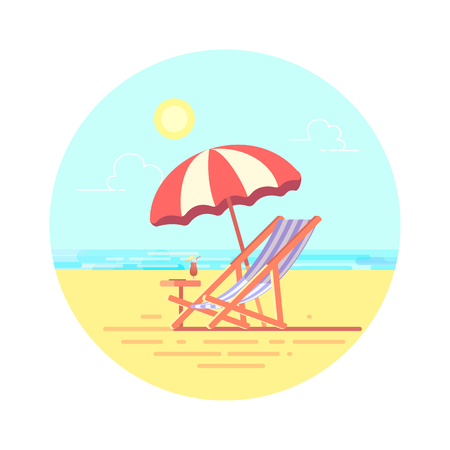 Beach chaise longue with umbrella vector flat illustration. Holidays on beach.