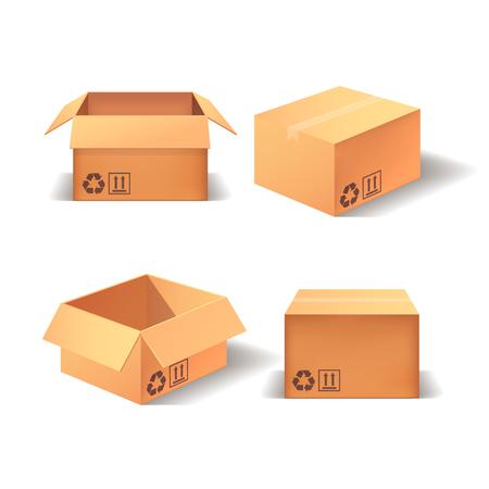 Set of realistic boxes. Isolated 3d cardboard. Ilustração