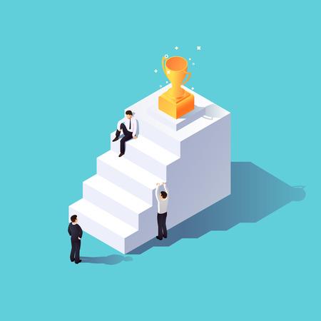 Isometric 3d career concept. Businessmen climbing career ladder.