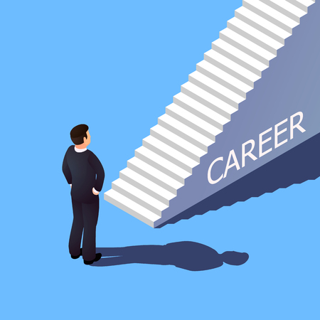 Isometric 3d career concept. The businessman is going to climb the career ladder.
