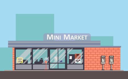 Boutique façade de vecteur coloré. Concept de plat mini marché. Banque d'images - 83102808
