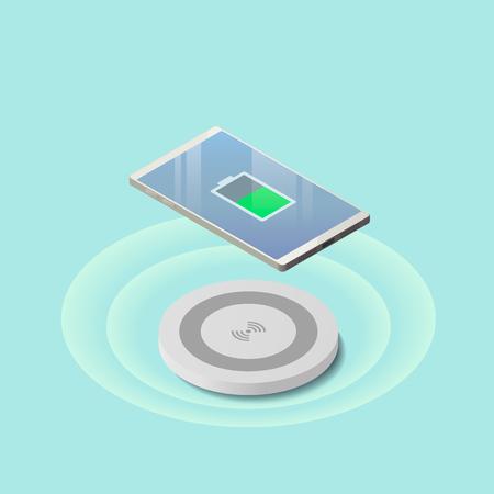 Isometrisch concept van telefoon draadloos opladen. Platte vectorillustratie Stock Illustratie