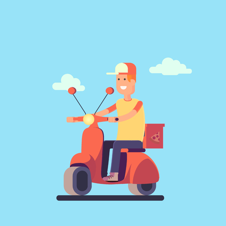Pizza delivery concept. Delivery man in the bike. Vector illustration in flat style.