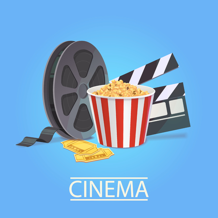 Realistic art for the cinema industry. Elements of cinematography: popcorn, filmstrip, tickets, clapperboard Vector illustration for the film industry.