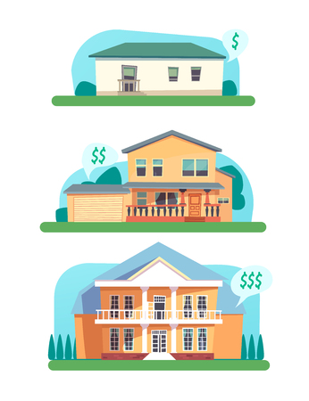 A concept of small, medium and large house for sale or rent. Vector cartoon illustration of web design, posters, user interface.