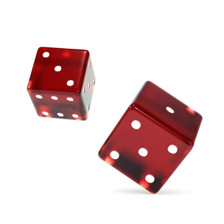 Isolated falling red dices. 3d render. Imagens