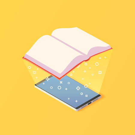 Isometric online mobile library concept.
