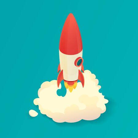 Isometric rocket launch. Start up rocket ship. Vector illustration.
