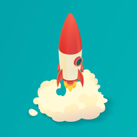 Lancement de fusée isométrique. Démarrez fusée. Illustration vectorielle Banque d'images - 87709358