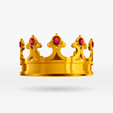 Vector realistic gold crown with gems. Isolated royal gold crown with gemstones.