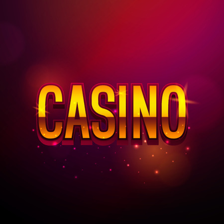 Casino vintage banner with golden text. Vector retro sign