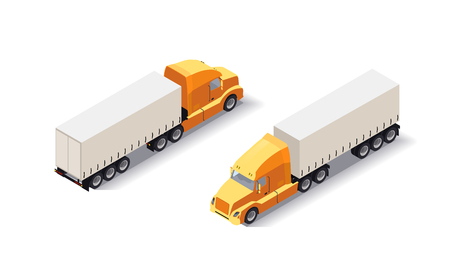 Isometric Truck trailer with goods. Cargo delivering vehicle on white background. Fast shipping tranport. Flat style illustration