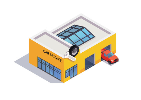 Auto service isometric icon with car. Flat vector style illustrarion Banque d'images - 110266979