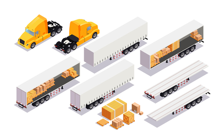 Set element cargo transport. Flat 3d isometric high quality city transport. cargo truck, trailer