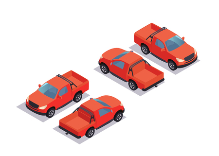 Flat Isometric pick up car. Vector template isolated red off-rooad car on white background Ilustração