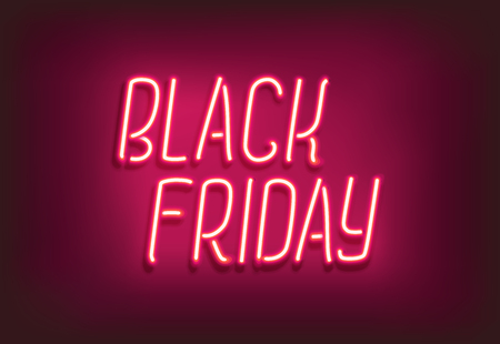 Black Friday neon sign. Glowing web banner, signboard Banque d'images - 109678639