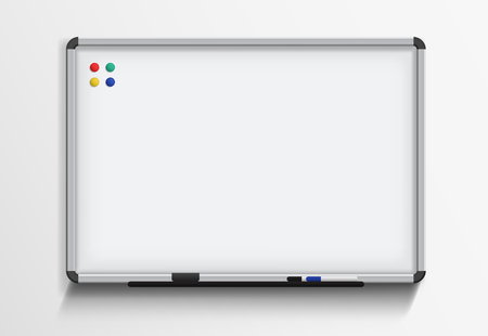 Whiteboard with marker and magnets. Vector realistic template on white background Illustration