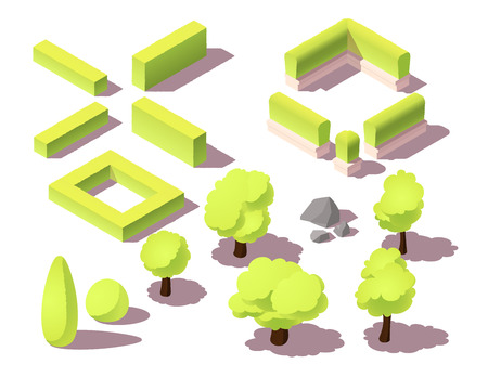 Isometric set of trees and hedges for city map. Park plants, bush, urban landscape, small rocks Banque d'images - 110867688