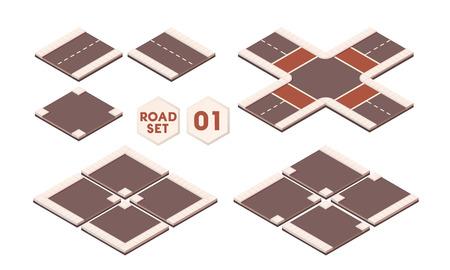 Isometric roads construction elements for sity map. Set of road path Ilustração