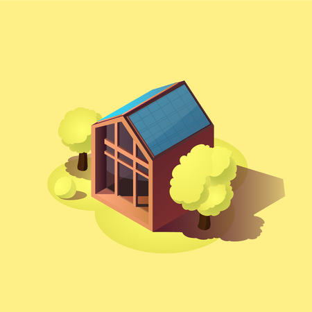 icometric ecology home icon Green energy modern house. Banque d'images - 116256990