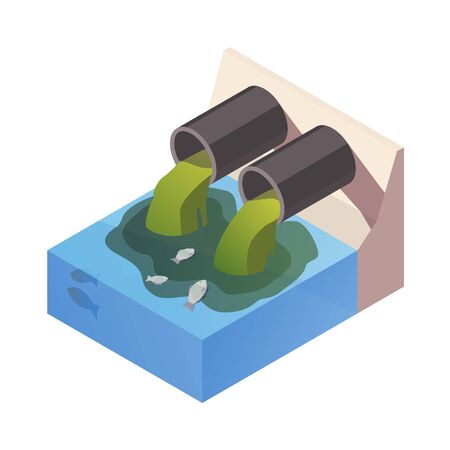 Dirty Water drain from the pipe polution the river, ocean. Water pollution concept. The danger for the environment. Flat 3d isometric illustration.