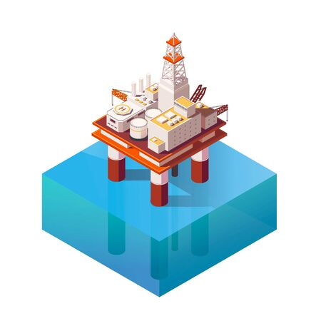 Vector Isometric platform for production oil and gas. Flat ilustration with offshore oil platform in the ocean. High quality Oil Platform Icon for infographic element Vektorové ilustrace