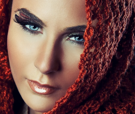Portrait of a young beauty Arab woman with with blue eyes Stock Photo