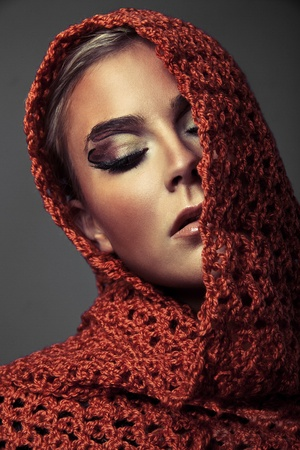 Portrait of a young beauty Arab woman with beautiful makeup Stock Photo