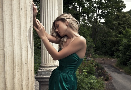 portrait of a calm blonde beauty  版權商用圖片