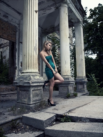 blonde woman posing outdoors  photo