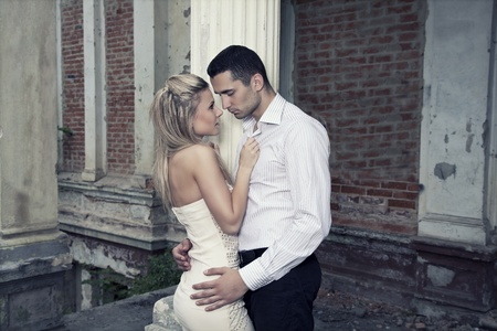 Romantic photo of a kissing couple