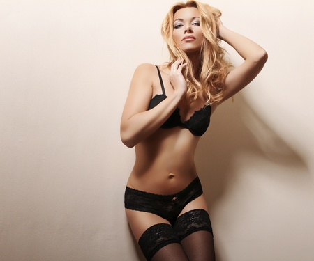 beautiful blond woman in sexy lingerie