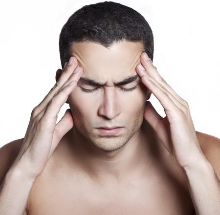 Men having a migraine isolated on white  Stock Photo