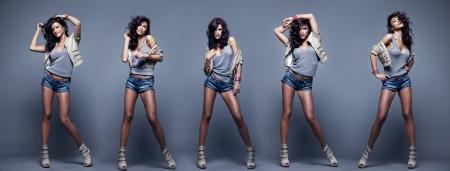 Collage van mooie mode vrouwen poseren op de achtergrond