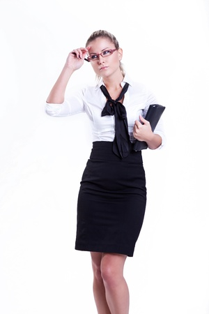 Positive business woman thinking over white background