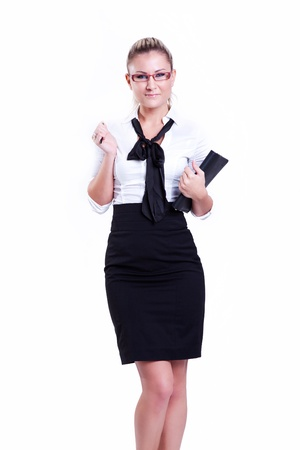 Positive business woman with notebook smiling over white background